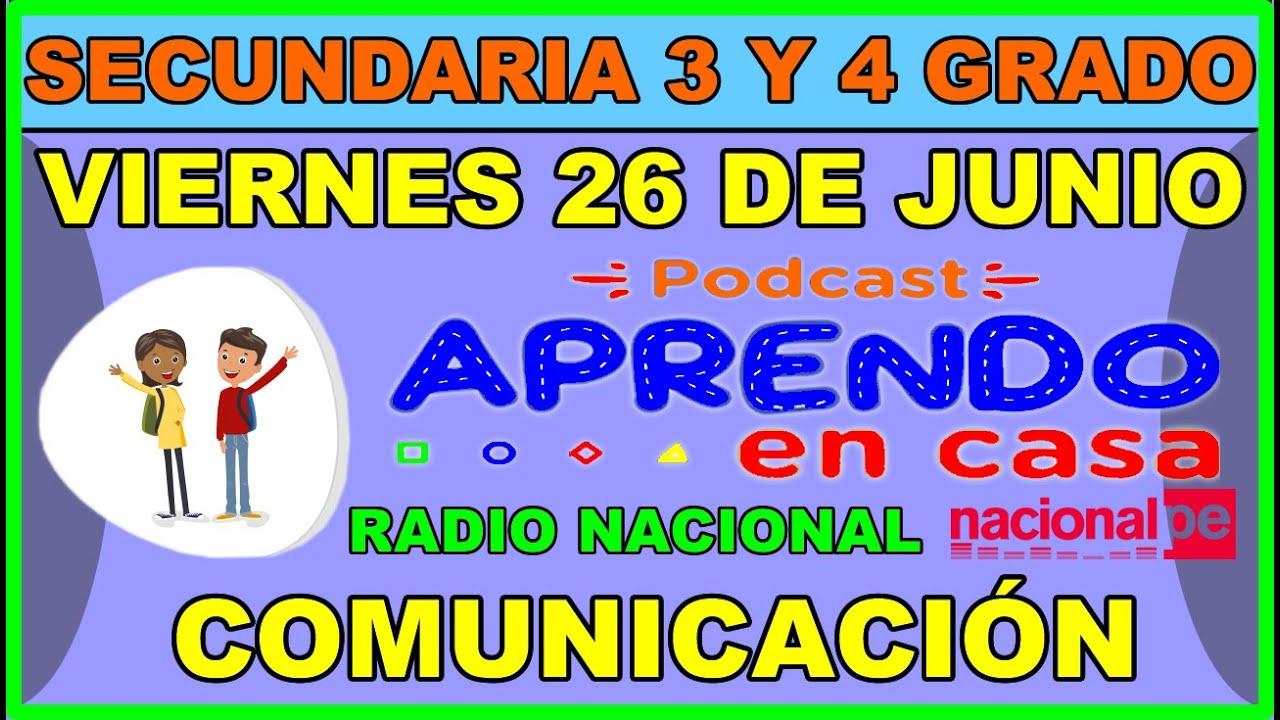 EN VIVO APRENDO EN CASA RADIO NACIONAL SECUNDARIA 3 Y 4 ...