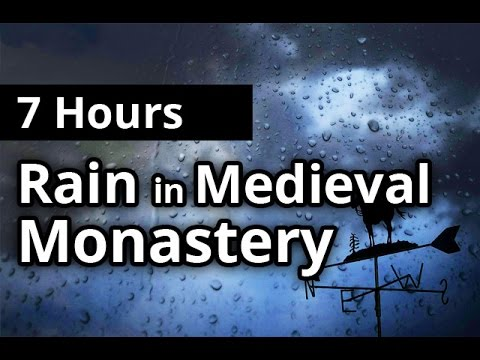 7 Hours Relaxing RAIN & Thunder in Medieval Monastery - Rainfall SLEEP SOUNDS