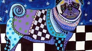 Pug Art By Artist Heather Galler - Abstract Modern Folk Art