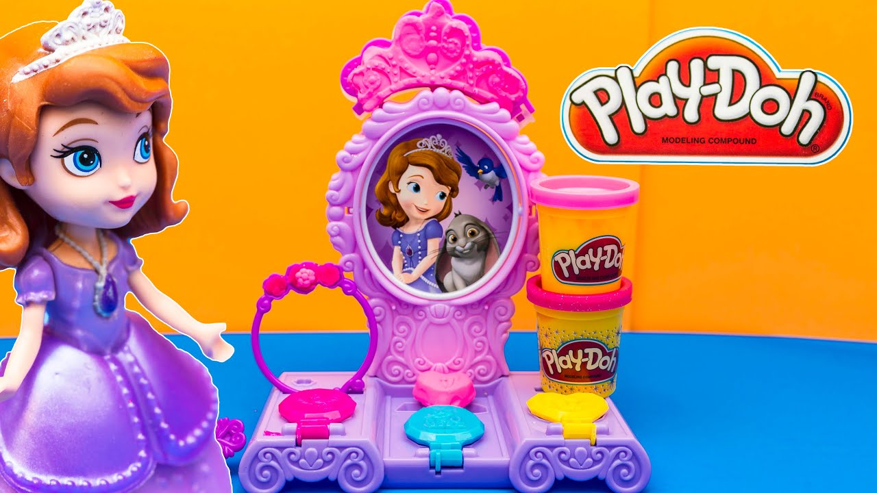 sofia the first play doh amulet and jewels vanity playset