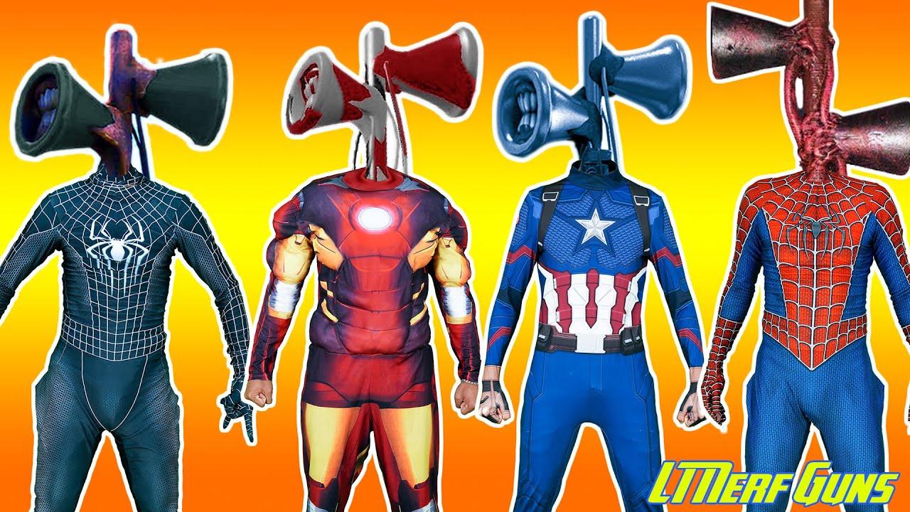 LT Nerf Gun: Spiderman X Warriors Nerf Guns Fight Criminal Group Wrong Head Top Superheroes