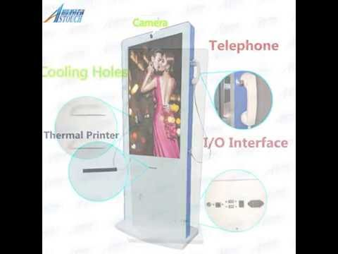 AStouch 47inch interactive touch kiosk with camera, telephone, and thermal printer all in one