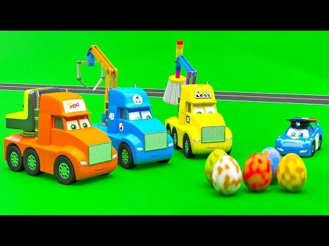 Little Cars and Giant Surprise Dino Eggs on The Construction Site