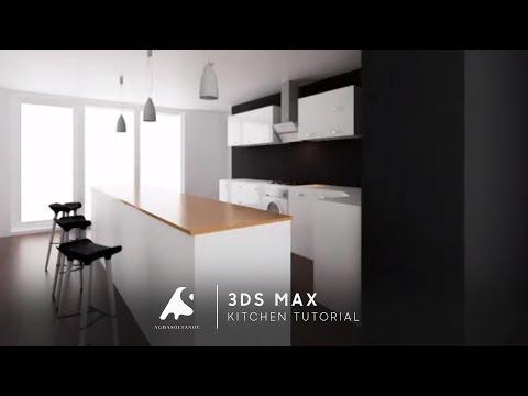3D Max Kitchen Modeling + Interior Design Vray Photoshop