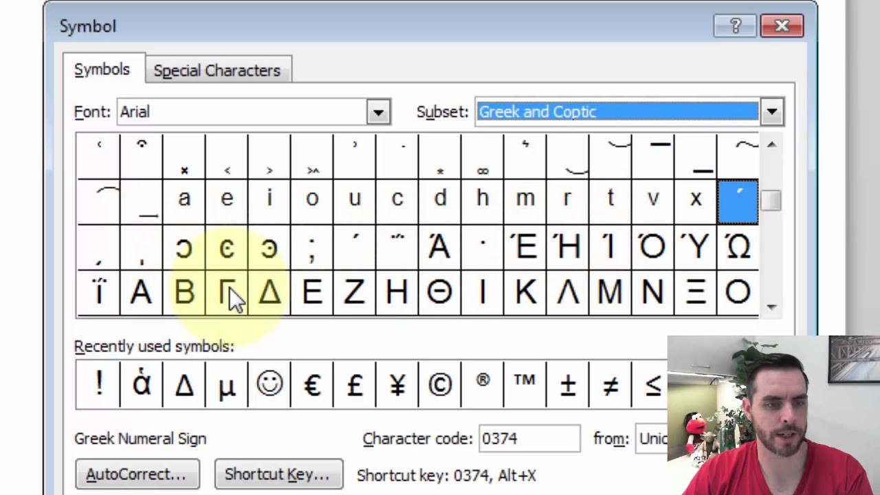 How Do I Type Greek Letters In Microsoft Word Youtube