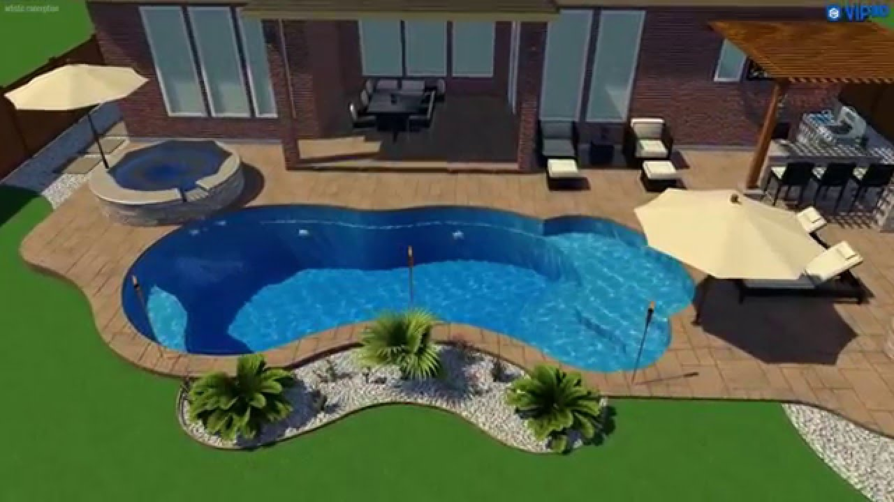 Fiberclassy pools 3d pool design the eclipse 35 39 youtube for 3d pool design online