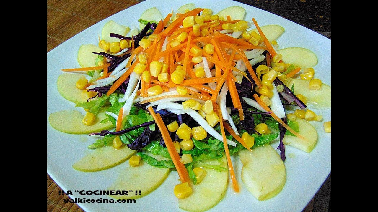 Ensalada de col lombarda con manzana y zanahoria youtube - Ensalada de apio y zanahoria ...