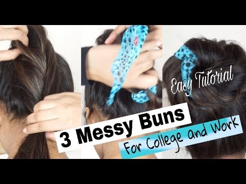 Messy Bun Hairstyles 3 Easy Methods Shweta Makeupbeauty Youtube