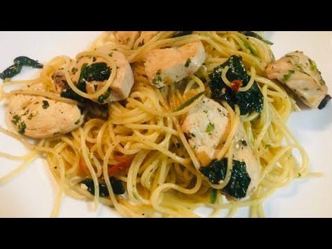 recette-spaghettis-poulet-épinards-facile-et-rapide