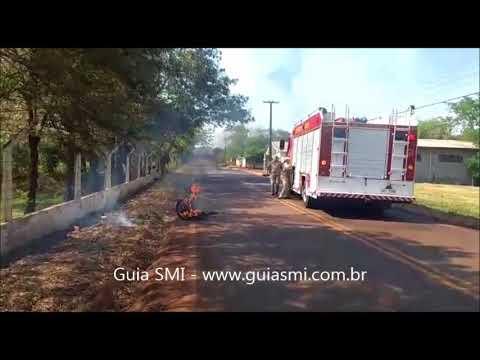 Motocicleta fica destruída após pegar fogo em São Miguel do Iguaçu