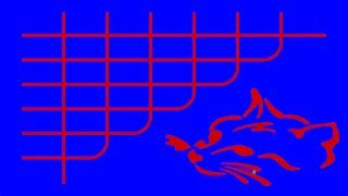 Seven red lines drawn with blue ink, cross orthogonally each other (the expert solution, with a cat)