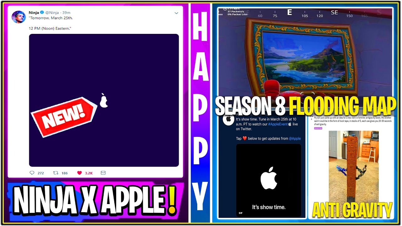 *NEW* Fortnite Update! Apple X Ninja/Fortnite Collab, iPhone Skin, Volcano Flooded Event & More!