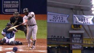 MIA@TB: Ozuna belts a long solo homer off a banner