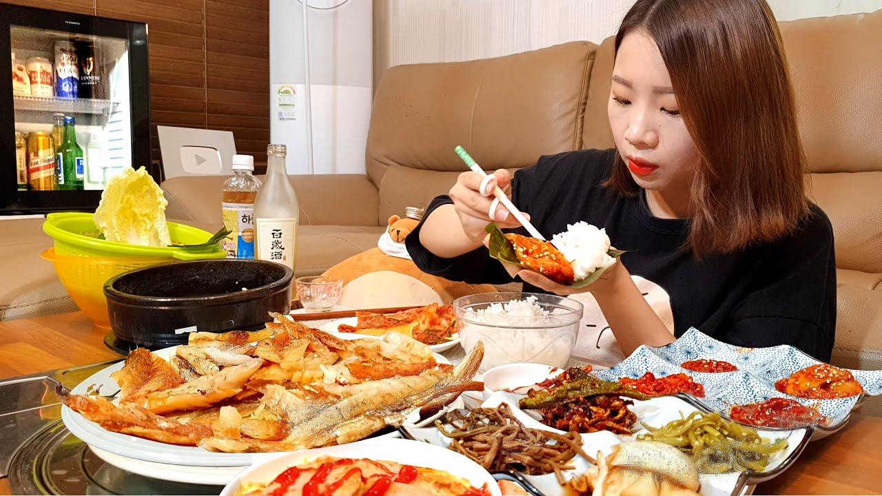 집밥 먹방★ 보리굴비+된장찌개에 어리굴젓 멍게젓갈 창란젓 분홍소세지에  백세주 한잔!! 혼술 먹방ASMR EATING SHOW REAL SOUND