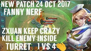 Tz zxuan playing fanny after nerf    BEST FANNY EVER    KILL INSIDE TURRET