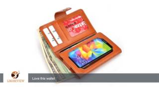 Samsung Galaxy S4 CDMA Smartphone Wallet Case Dim Gray on Camel Brown Tan with Credit Card Holder