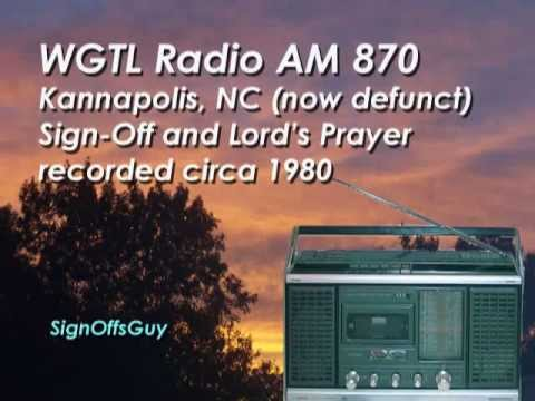 WGTL AM 870, Kannapolis NC (defunct) - Sign Off recorded circa 1980