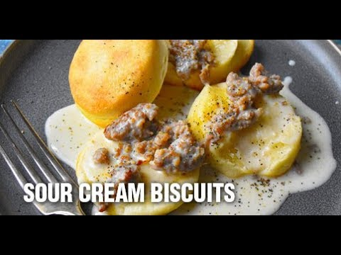 Sour Cream Biscuits with Sausage Gravy Recipe by Swaggerty's Farm®