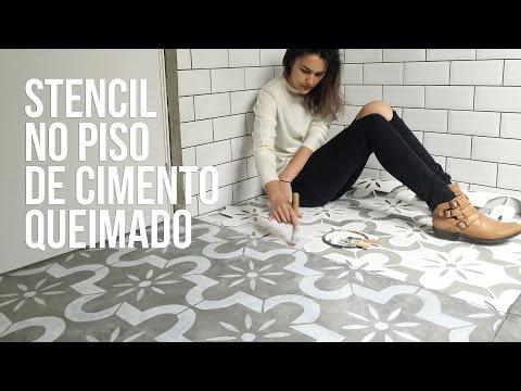Como fazer stencil no piso de cimento - concreto queimado