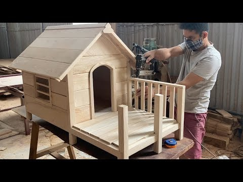 How To Building A Wooden House For Your Dog. Very Happy Dogs - Techniques Woodworking Skills Design