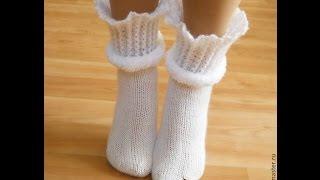 Красивые вязаные носки. Beautiful knitted socks.