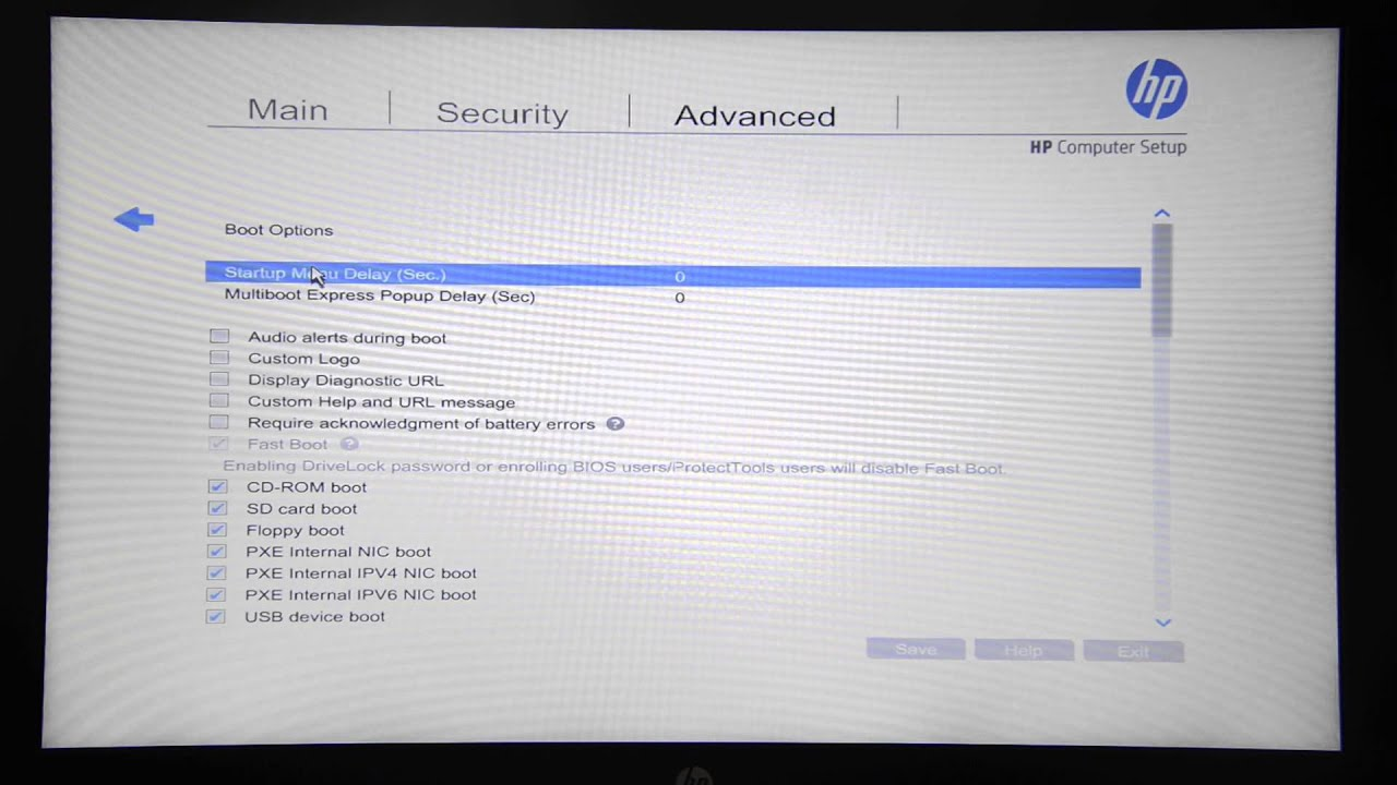 BIOS Setup for HP ZBook