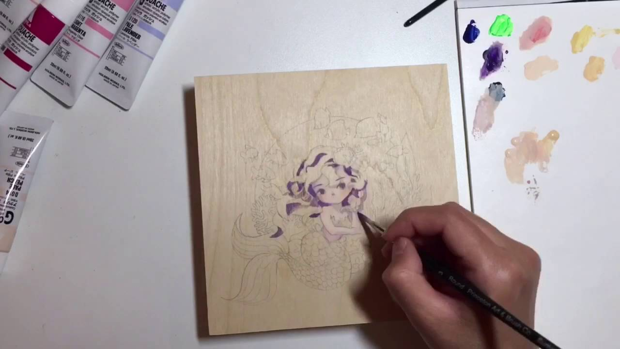 Gouache Painting On Wood Mermaid Youtube