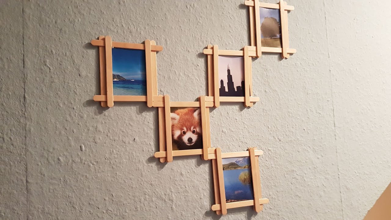 Diy Popsicle Stick Multi Photo Frame Youtube