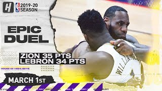 LeBron James vs Zion Williamson EPIC Duel Highlights | Lakers vs Pelicans | March 1, 2020