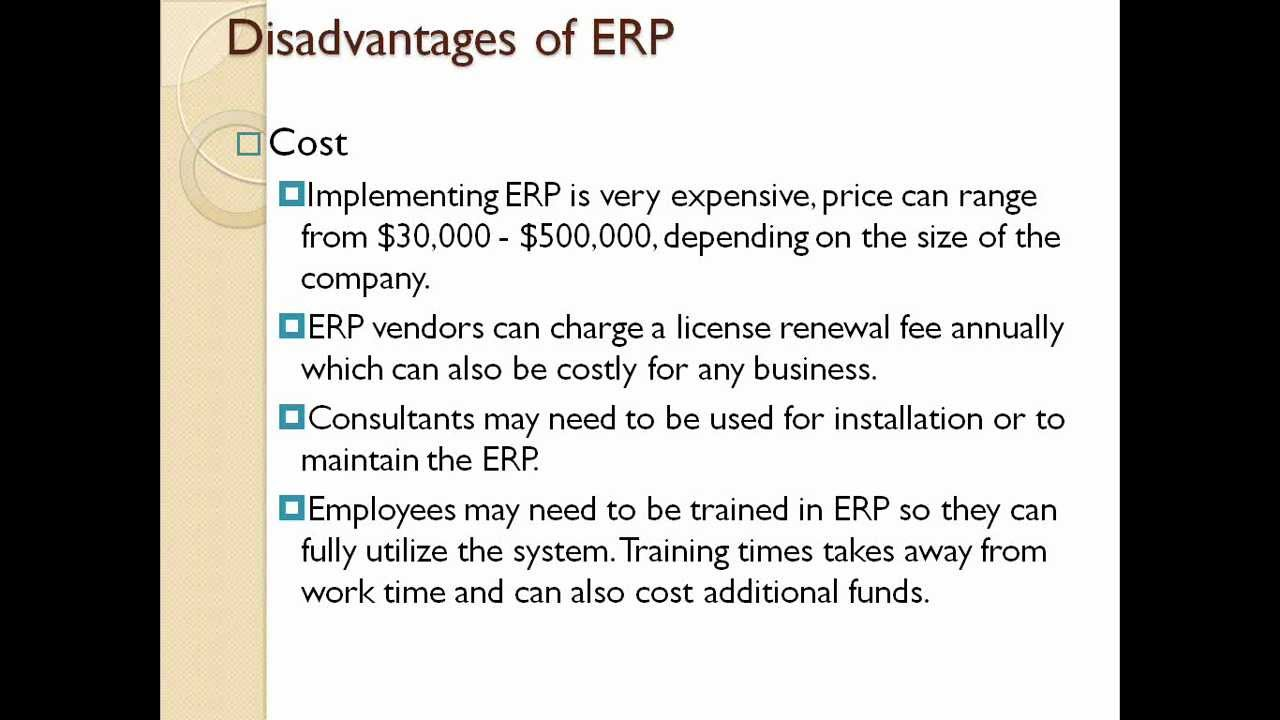 Disadvantages Of Erp Youtube
