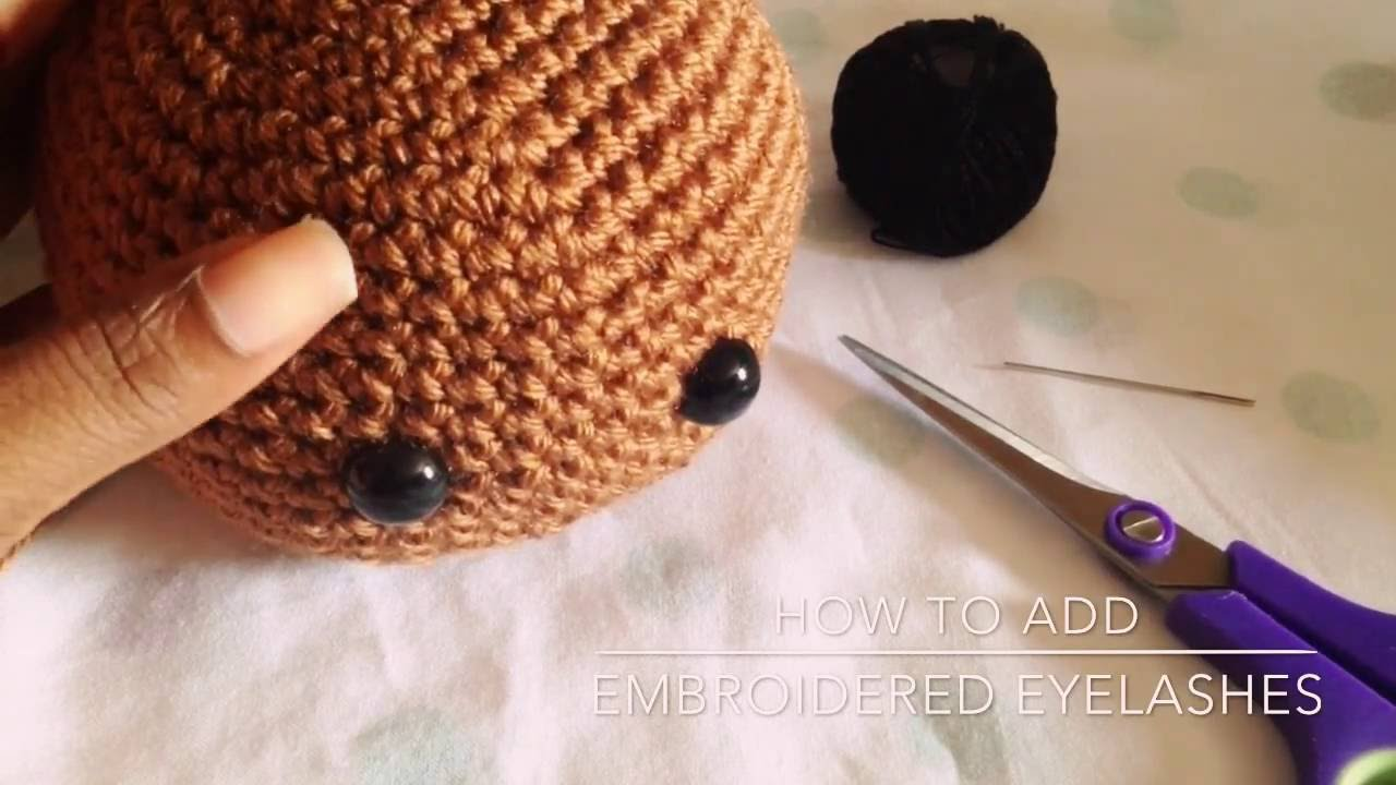 How to add embroidered eyelashes to crochet doll youtube how to add embroidered eyelashes to crochet doll ccuart Image collections