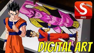 DIGITAL ART ☆ Drawing Mystic Gohan and Super Buu!