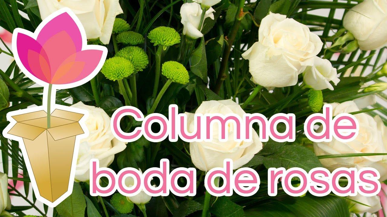 Cómo hacer una columna de boda de rosas - YouTube