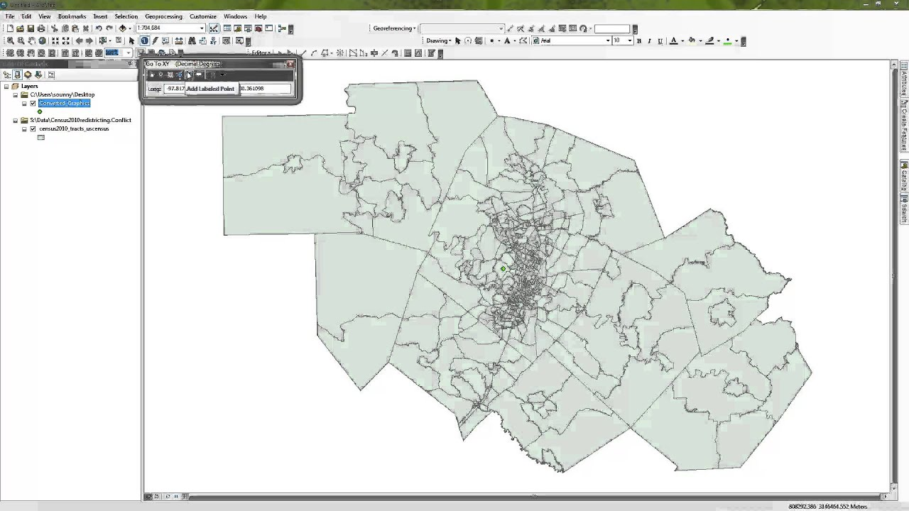 Selecting all polygons with a distance from a point using ArcMap