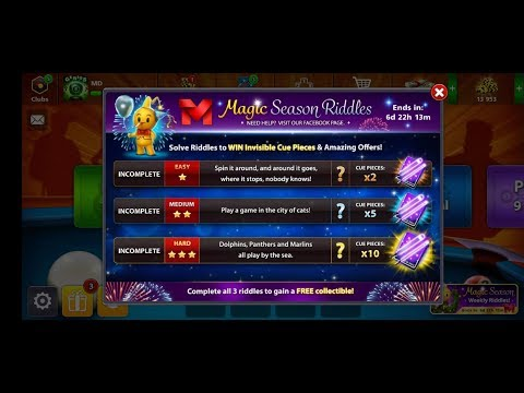 Magic season riddles 4th Week in 8 ball pool to win exclusive free master avatar