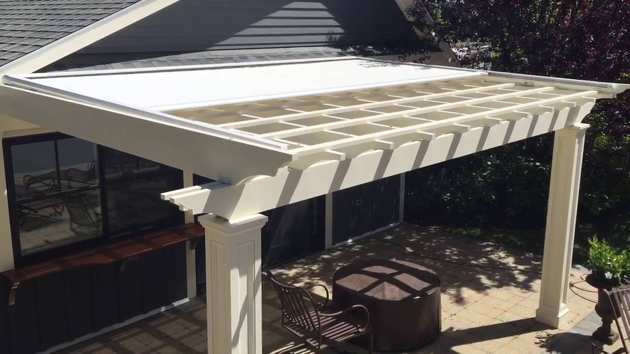 Sunesta suncover motorized pergola cover youtube - Waterdichte pergola cover ...