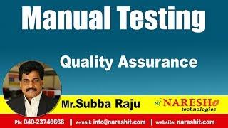 Quality Assurance | Manual Testing Tutorial | Mr.Subba Raju