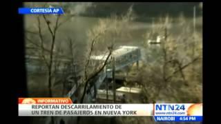 Primeras imágenes de tren de pasajeros que descarriló en Nueva York volcando cinco de sus vagones