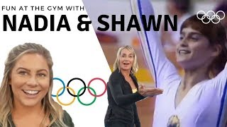 fun at the gym with olympians nadia comaneci and shawn johnson | the east family
