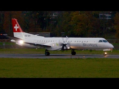 SkyWork Airlines Saab 2000 NEW LIVERY Take-Off at Bern