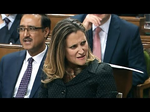 Chrystia Freeland and Pierre Poilievre spar on new trade deal