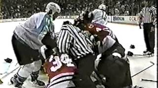 San Jose Sharks vs Chicago Blackhawks Brawl 1999