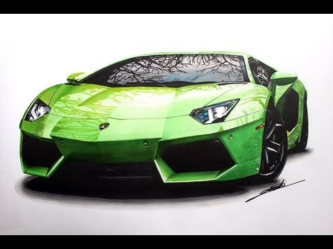 Lamborghini aventador speed drawing by roman miah