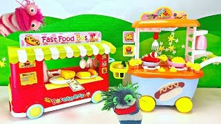 Learn Cooking and Colors with Fizzy and Phoebe Pretend Food Truck and Bus