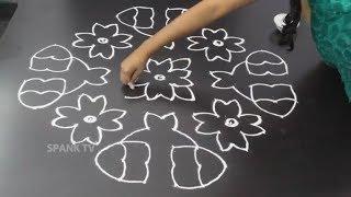 SIMPLE RANGOLI DESIGNS with 14X4X4 dots | Rangavalli muggulu designs