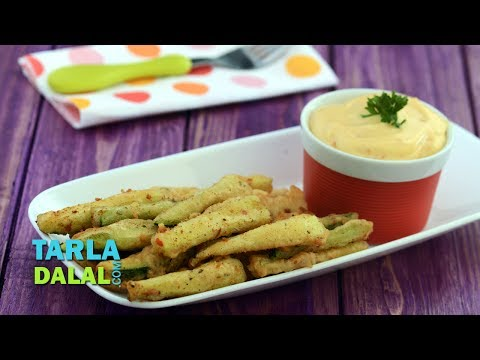 Zucchini Fritters with Spicy Mayo Dip by Tarla Dalal