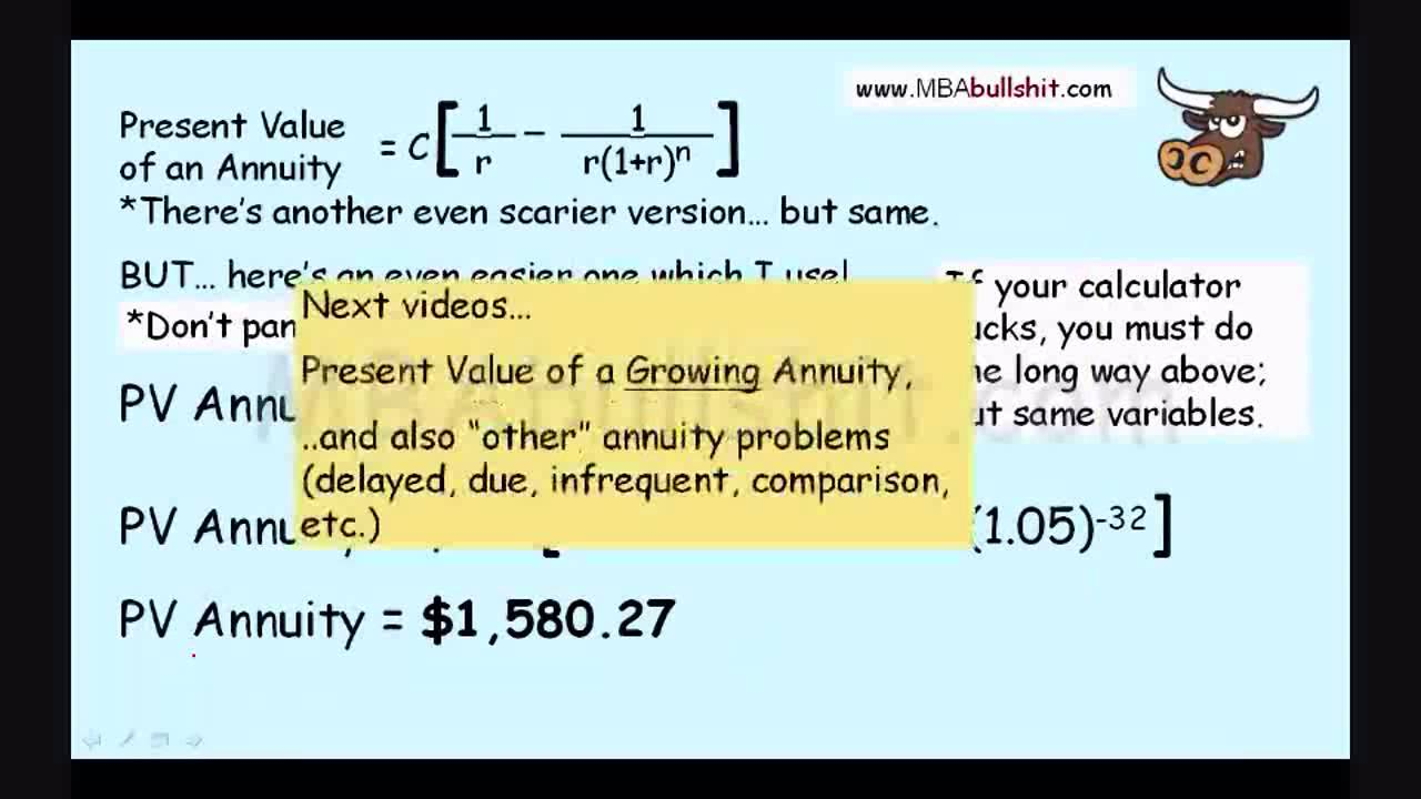 Annuity Calculation In 9 Minutes Annuities Explained For Present Value Of An Formula You