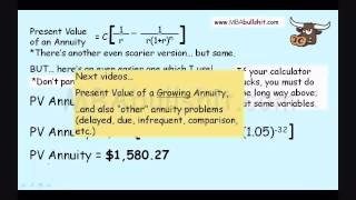 Annuity Calculation in 9 Minutes - Annuities Explained for Present Value of an Annuity Formula