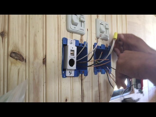 RV Trailer Build #103 - Installed 120v Outlets/GFCI and USB Charging Points in Bedroom Cabinets