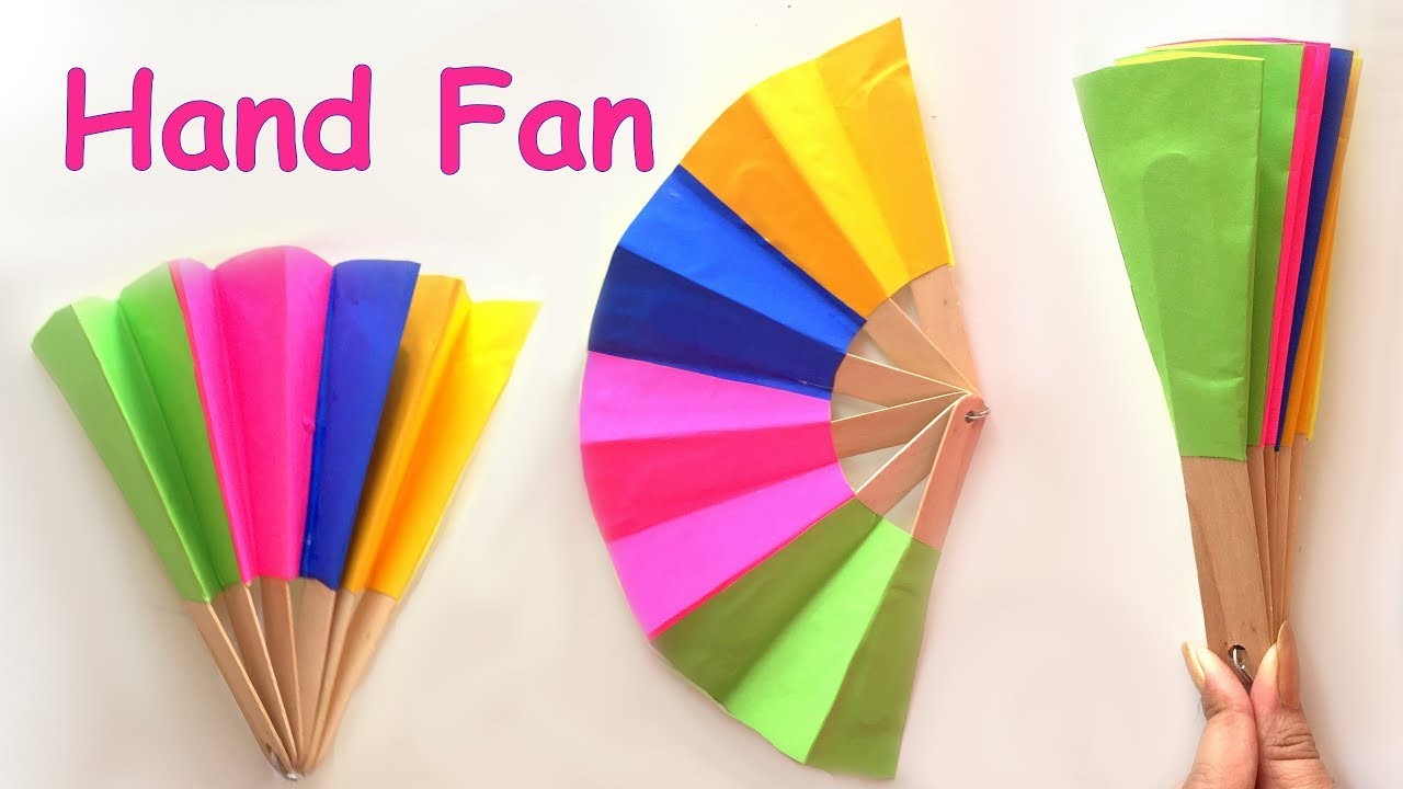 Diy homemade paper hand fan best out of waste kids for Waste material craft on paper